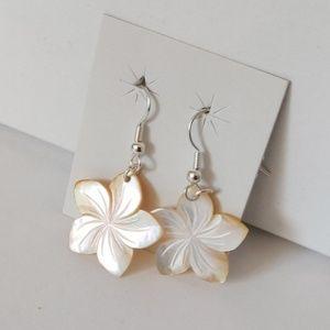 Hawaiian Flower Mother of Pearl Dangle Earrings